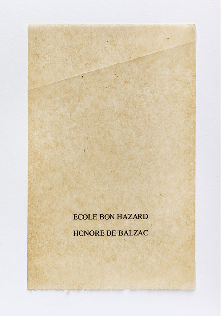 Balzac. Anagramme, papier de soie. Photographie: Jacky Lecouturier