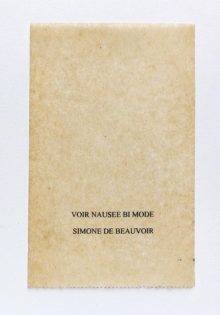 Beauvoir. Anagramme, papier de soie. Photographie: Jacky Lecouturier