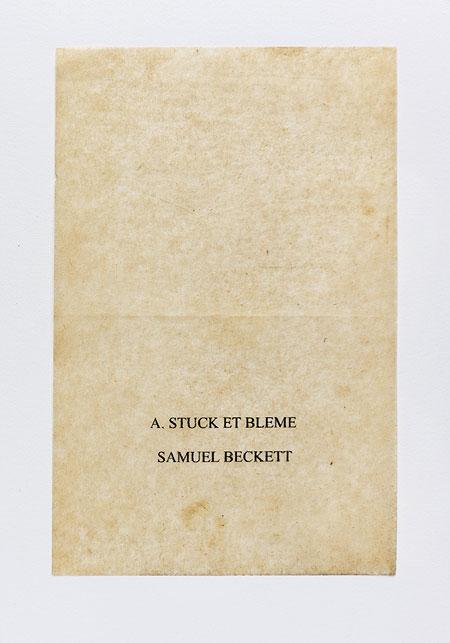 Beckett. Anagramme, papier de soie. Photographie: Jacky Lecouturier