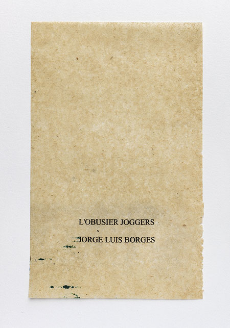 Borges. Anagramme, papier de soie. Photographie: Jacky Lecouturier