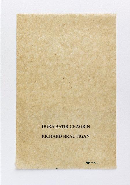 Brautigan. Anagramme, papier de soie. Photographie: Jacky Lecouturier
