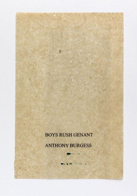 Burgess. Anagramme, papier de soie. Photographie: Jacky Lecouturier