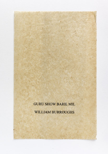 Burroughs. Anagramme, papier de soie. Photographie: Jacky Lecouturier