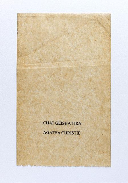 Christie. Anagramme, papier de soie. Photographie: Jacky Lecouturier