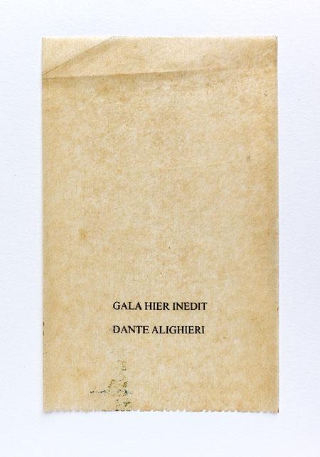 Dante. Anagramme, papier de soie. Photographie: Jacky Lecouturier