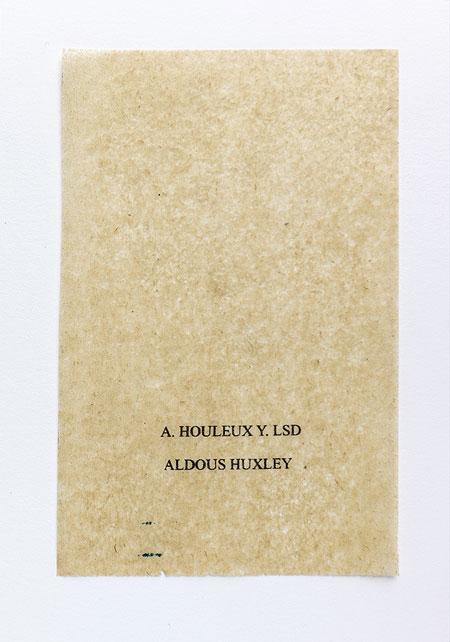 Huxley. Anagramme, papier de soie. Photographie: Jacky Lecouturier