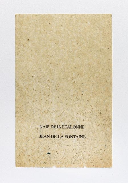 La Fontaine. Anagramme, papier de soie. Photographie: Jacky Lecouturier