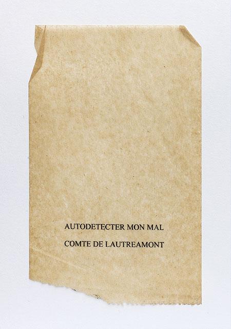 Lautréamont. Anagramme, papier de soie. Photographie: Jacky Lecouturier