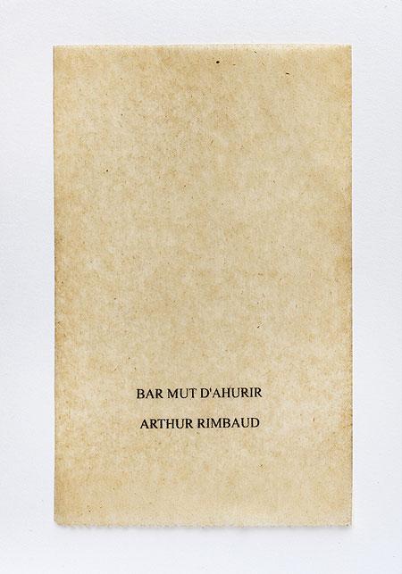 Rimbaud. Anagramme, papier de soie. Photographie: Jacky Lecouturier