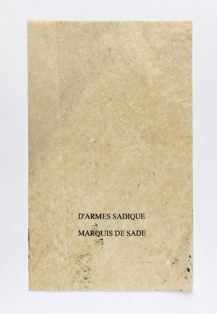 Sade. Anagramme, papier de soie. Photographie: Jacky Lecouturier