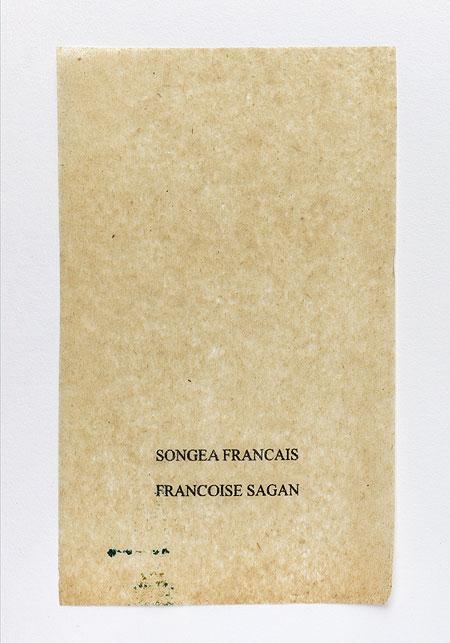 Sagan. Anagramme, papier de soie. Photographie: Jacky Lecouturier