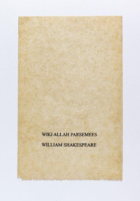 Shakespeare.Anagramme, papier de soie. Photographie: Jacky Lecouturier
