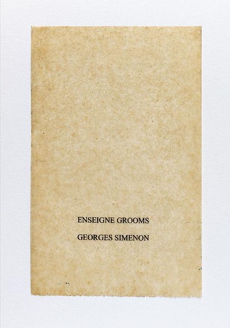 Simenon. Anagramme, papier de soie. Photographie: Jacky Lecouturier
