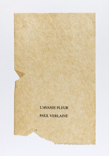Verlaine. Anagramme, papier de soie. Photographie: Jacky Lecouturier