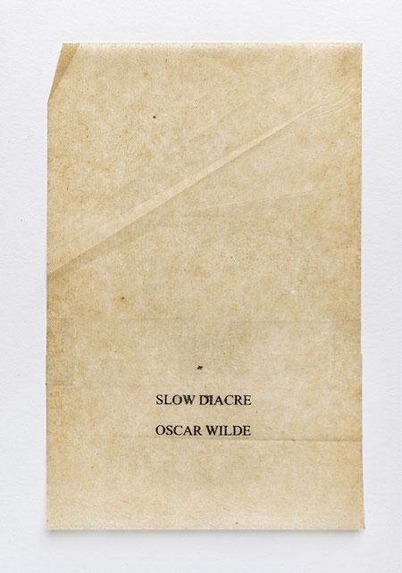 Wilde. Anagramme, papier de soie. Photographie: Jacky Lecouturier